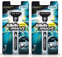 Gillette Mach3 Men's Razor, Handle & 1 Blade Refill (2 Pack)