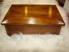 Handmade Art Walnut Jewelry Trinket Storage Box with Mirror