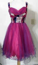 CHICAS S Dress Evening Dance Prom Purple Pink Short TULLE Full Skirt SEQUINS NWT