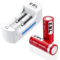 2 Pcs 3.7V 1600mAh 18500 Rechargeable Li-ion Batteries + 2 Solt Battery Charger
