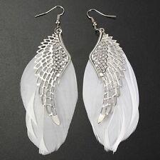 Bijou fantaisie idée cadeau : boucles d'oreilles plume blanche, aile argentée