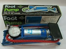 New Vintage 1970's Chieftain Air Foot Pump w 2 ft Hose and Gauge w Box Free S/H