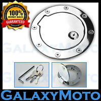 Chrome Gas Door Fuel Filler Cap Cover w/ Lock for 97-06 Jeep Wrangler TJ