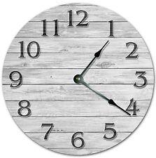 "10.5"" Wooden Grey Board Clock - Living Room Clock - Large 10.5"" Wall Clock 4076"