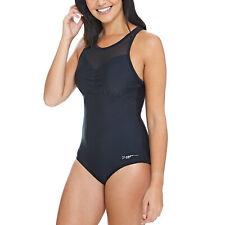 New ZOGGS Womens Swimsuit Scoopback Shapewear Swimming Costume Swim Black Pink