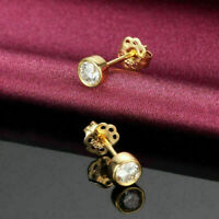 0.50 Ct Round Diamond Solitaire Bezel Stud Butterfly Earrings 14k Yellow Gold Fn