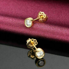 0.50 Ct Natural Round Diamond Solitaire Stud Earrings 14k Yellow Gold