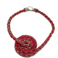 4a6472f964 Bracciale spirale pelle rossa con catena a pallina argento titolo 925  rodiato