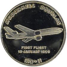 1 oz Silver Round McDonnell Douglas MD-11 First Flight 10 January 1990 .999 Fine