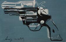 Fine unique Pop Art painting – gun, signed Andy Warhol w COA