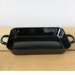 Riess Emaille Bratreine schwarz 37 cm Bräter Auflaufform Email-Pfanne