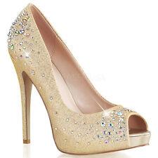 "5"" Silver Rhinestone Platform Bridal Heels Wedding Bridesmaid Shoes 7 8 9 10 11"