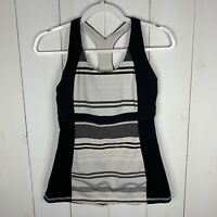 Lululemon Womens Multi Color Striped Size 2 Racerback Athletic Running Tank Top