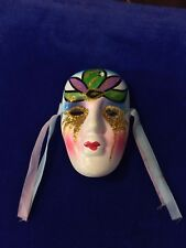 "Ceramic Art Face Mask with Glitter 3"" Tall"