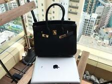 25CM Black Women Genuine Togo Leather Handbag Bag Satchel Bag Birkin Style