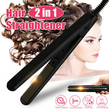 2 IN 1 Professional Steam Style Hair Straightener Curler Titanium Flat Iron