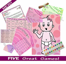 FIVE GAME BABY SHOWER MULTIPACK (Predictions, Bingo) PINK GIRL 20 PLAYER RRP £18