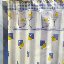 Rubber Duck Fabric Shower Curtain Blue White Yellow Duckie