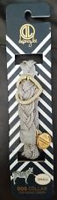 """Dabney Lee Gray Adjustable Braided Heart Dog Collar Size Small 13.5"""" Length"""