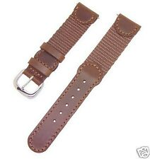 19mm Swiss Army Style Brown Leather and Nylon Men's / Women's Watch Band