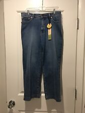New With Tags Christopher Blue Size 14 Wide Leg Cropped Jeans Stretch Denim