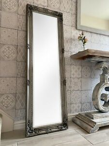 TALL ANTIQUE SILVER DRESSING ROOM FULL LENGTH FLOOR WALL MIRROR - BEVELLED GLASS