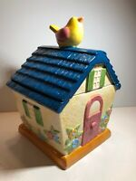 "🐥Vintage Cooks Club Bird House Ceramic Cookie Jar Canister 11"" Super Cute"