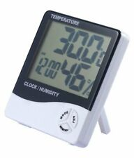 Termometro Igrometro Orologio Digitale Data Con Display Lcd 12/24 Ore Allarme -