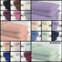 Kohsar Plain Dyed Poly Cotton Flat Fitted Sheet Sheets Sets 19 Colours 4 Sizes