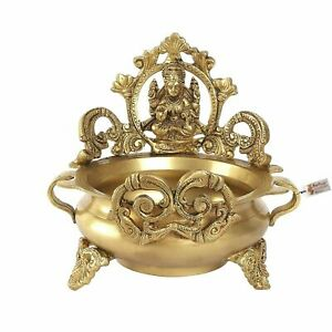 Ethnic Carved Laxmi Design 7 Inches Brass Decor Urli Decor Bowl (Golden)