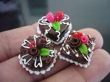 3 Mini Chocolate Cake Rose Top Dollhouse Miniatures Food Bakery Valentine Day 11