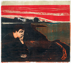 Evening Melancholy I by Edvard Munch 60cm x 53.6cm High Quality Art Print