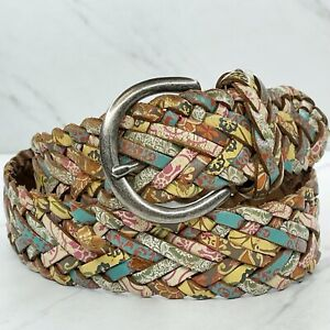 Fossil Multicolor Floral Braided Woven Genuine Leather Belt Size Small S