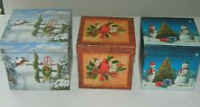 Lindy Bowman Set of 3 Holiday Christmas Gift Treasure Boxes Winter Scene Snowman