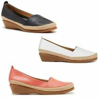 HUSH PUPPIES WOMENS TUNE NAVY CORAL WHITE LEATHER WEDGES WEDGE FLATS SHOES