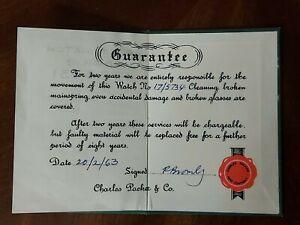 Rolex Watch Guarantee Card - 1960's