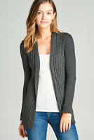 Premium Ribbed Knit Cardigan Open Front Long Sleeve Draped VISCOSE Sweater S M L