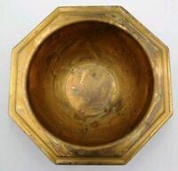 Ciotola Ottagonale Ottone 325 gr Vintage 14 cm Piatto Vaso Posacenere Antico
