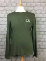 EA7 EMPORIO ARMANI MENS UK M KHAKI CORE LONG SLEEVE CREW NECK TOP