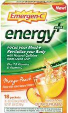 Emergen-C Energy+ Fizzy Drink Mix, Mango Peach Flavored 18 ea