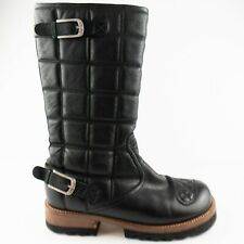 FREE PEOPLE  Jim Barnier QUILTED BLACK LEATHER  Leather Boots Sz 10 wmn 14inches
