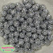 12mm Silver Resin Rhinestone Bubblegum Beads Lot 40 pc.chunky gumball
