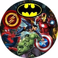 Superheros 7 Inch Edible Icing/ Wafer Cake & Cupcake Toppers/ Party / Birthday