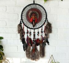 Black-brown withfaux fur and handmade glass beads-wood  indian dream catcher