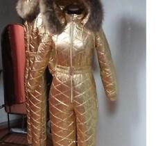 Gold Skianzug Wet Look Female Women Adult Overall Ski Suit Glanz Nylon Shine Fur