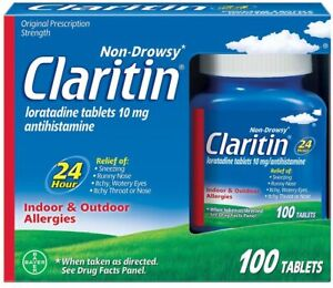 Claritin 24 Hour Allergy Medicine, Non-Drowsy Allergy Relief Tablets, 100 Count