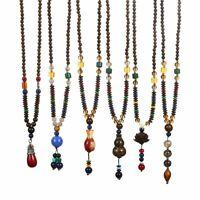 Handmade Nepal Jewelry Buddhist Beads Pendant Necklace Women Ethnic Long Chain