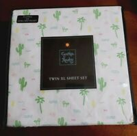 Cynthia Rowley TWIN XL Sheet Set Cactus/Palms/Hats/Waves Multi Color Dorm NWT