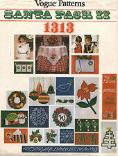 1970's VTG VOGUE Santa Pack Christmas Motifs Pattern 1313