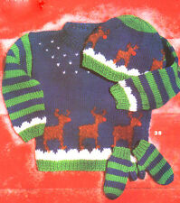 Childrens 2-6 years Xmas Button-Nose Reindeer Jumper Hat & Mitts to Knit